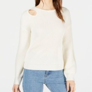 NEW Bar III Crochet Cut Out Balloon Sleeve Sweater